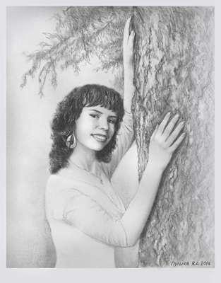 Портрет Марии. Рисунок карандашом