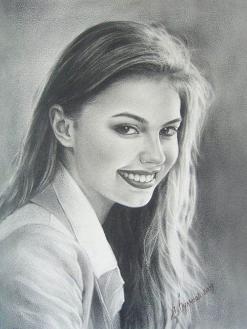 Алина Кабаева. Рисунок сухой кистью